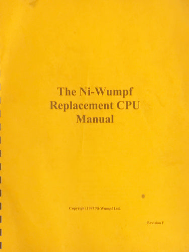 The Ni-Wumpf Pinball Replacement CPU Manual