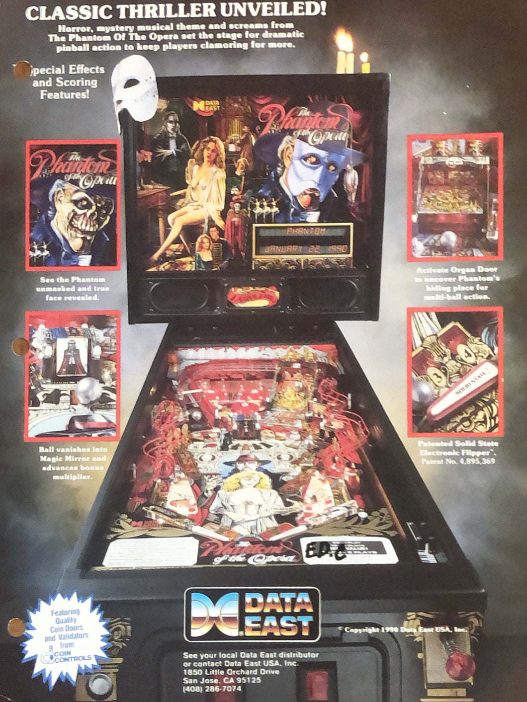 The Phantom Of The Opera Pinball Flyer