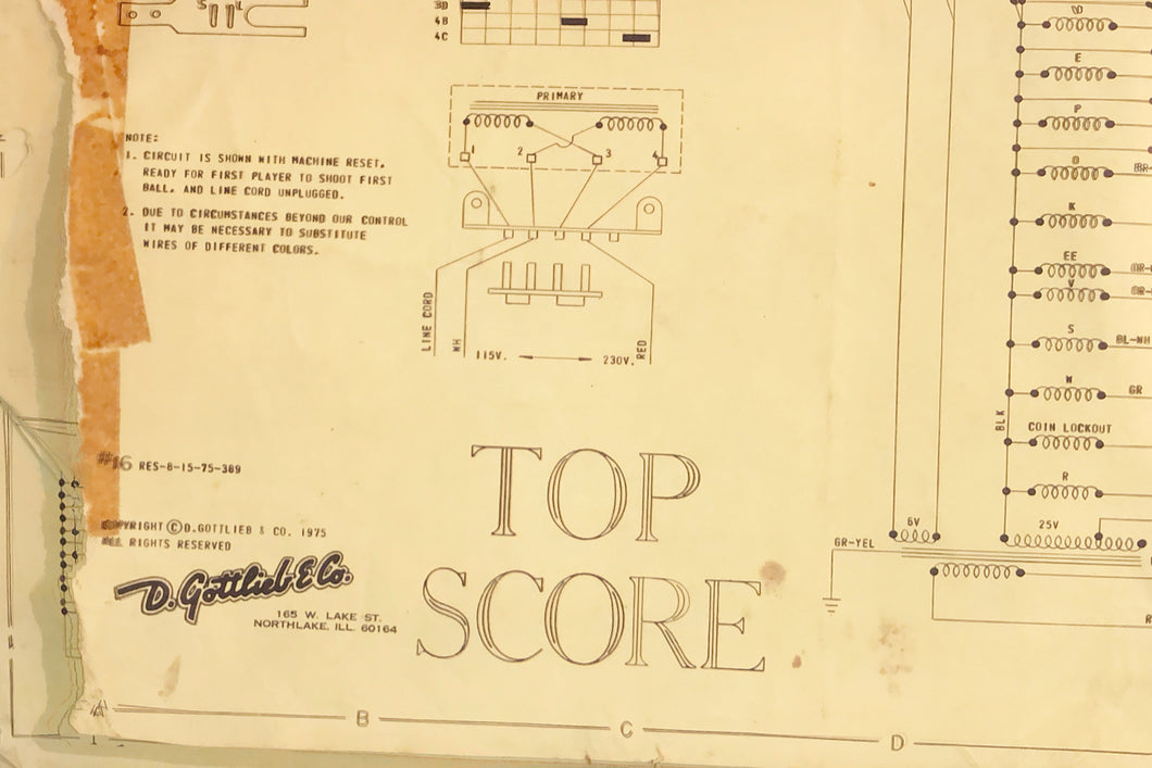 Top Secrets Pinball Schematic Only
