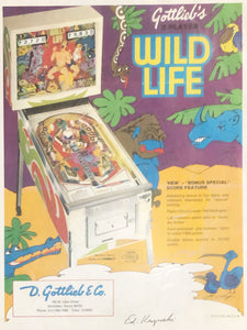 Wild Life Flyer Pinball Flyer Signed