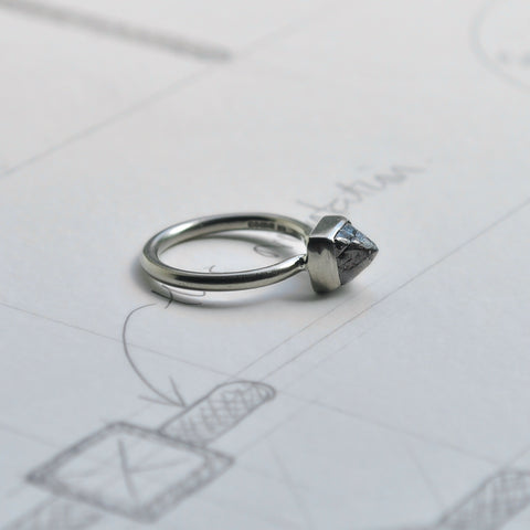 18 carat white gold and rough diamond engagement ring with design drawings