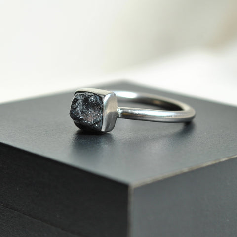 rough diamond and white gold ring