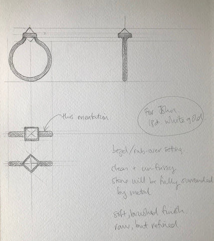 initial design drawings for a rough diamond ring