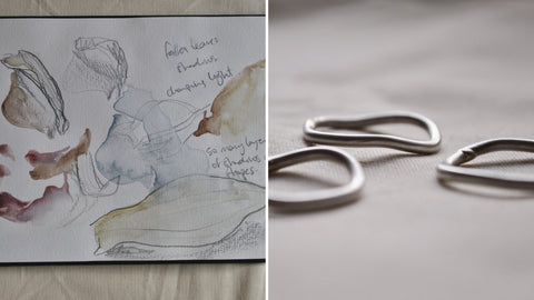 a sketchbook page alongside an image of 3 organically shaped rings
