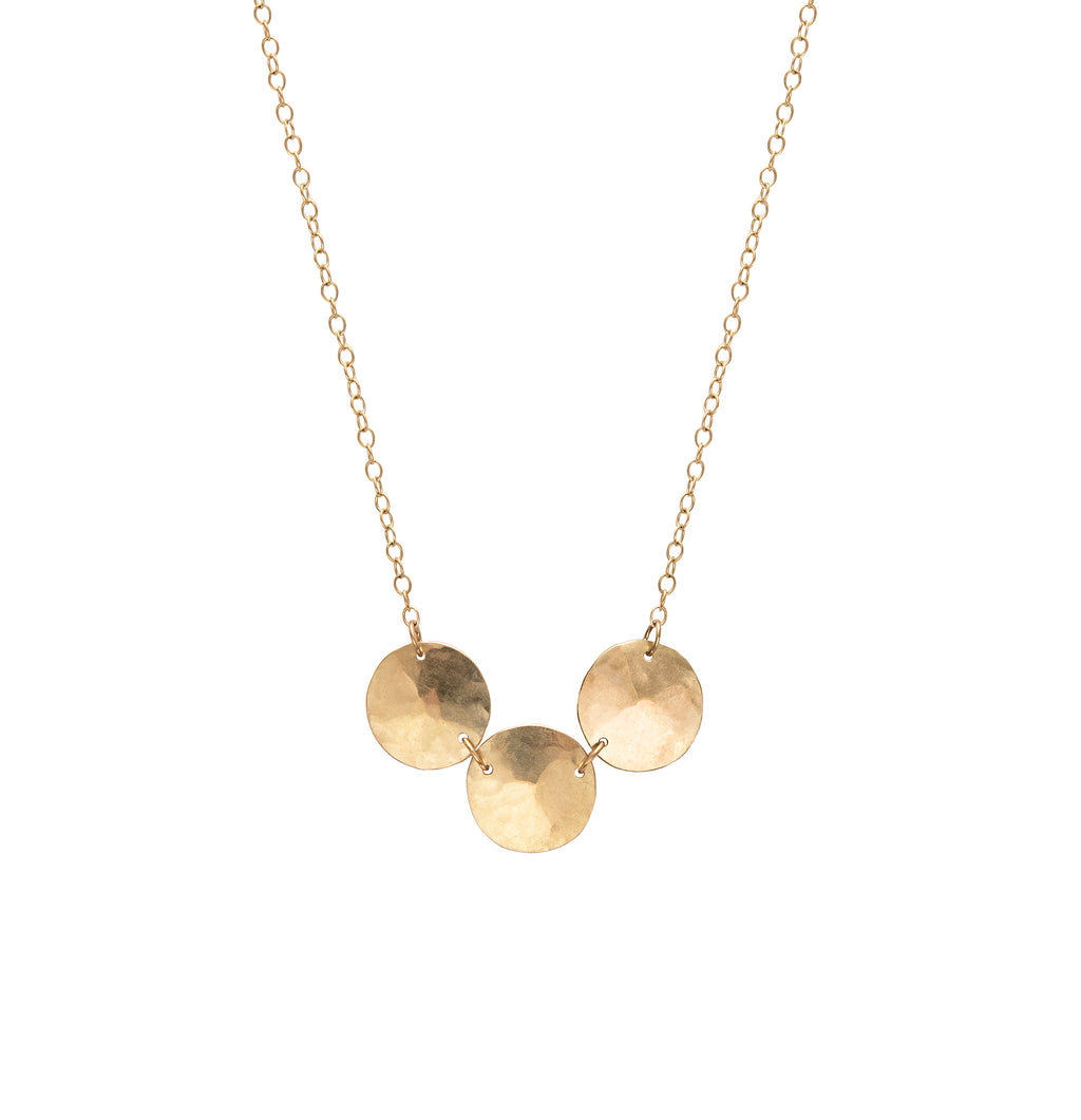 Triple Hammered Droplet Necklace, 9 Carat Gold
