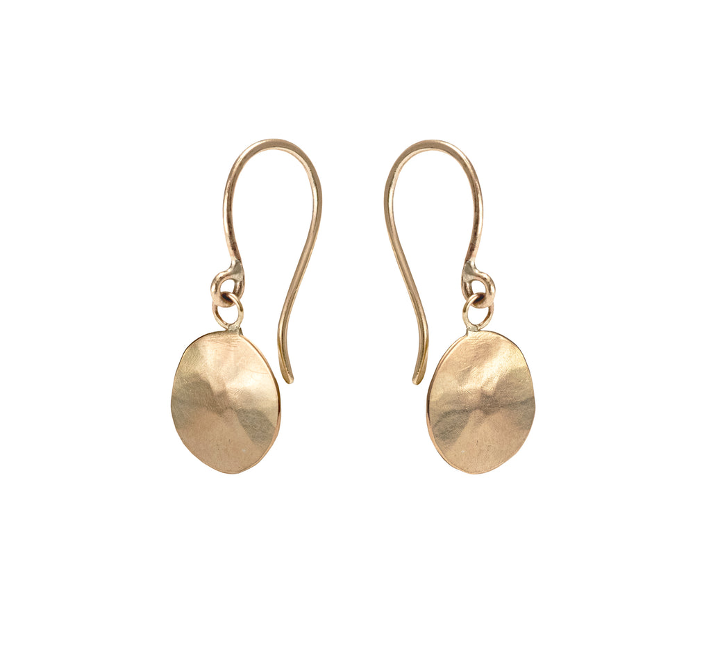 Hammered Droplet Earrings, 9 Carat Gold