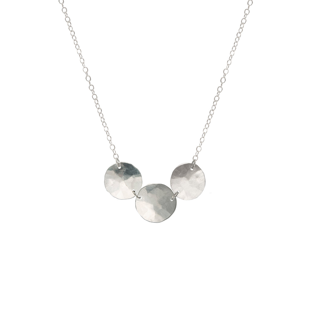 Triple Hammered Droplet Necklace, Silver