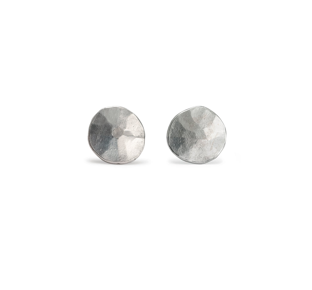 Hammered Droplet Ear Studs, Silver