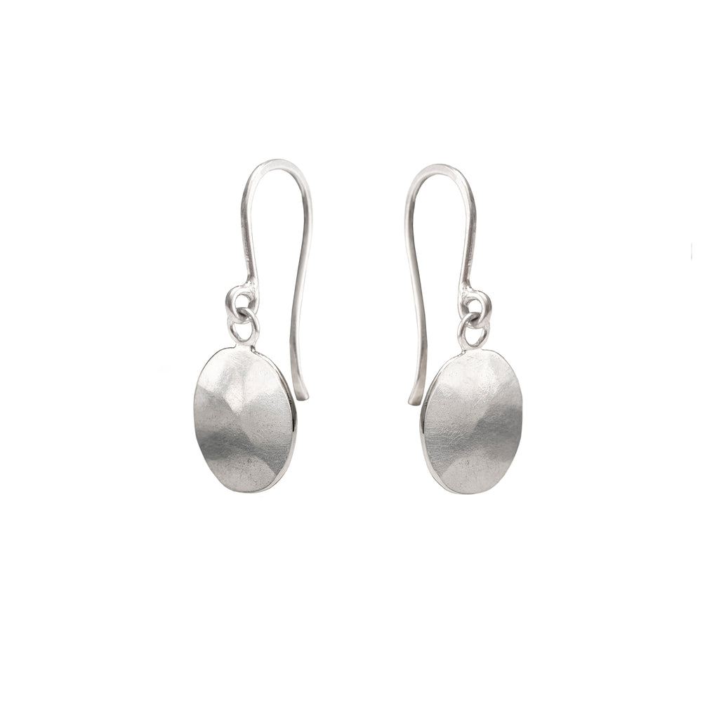 Hammered Droplet Earrings, Silver