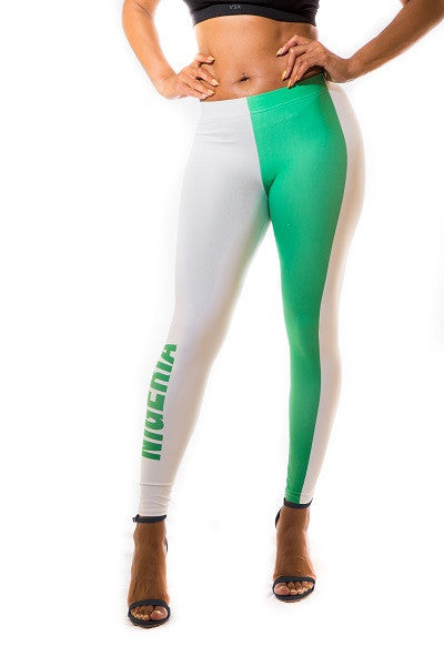Nigeria Flag Print Leggings