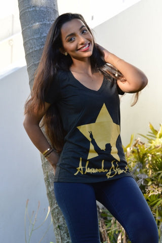 Alexander Star Signature Ladies Tee- Heather Black & Gold