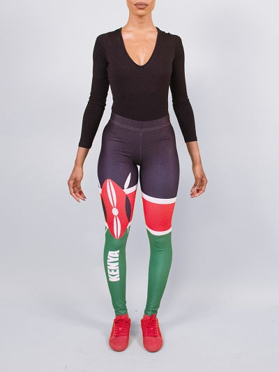 Kenya Flag Print Leggings