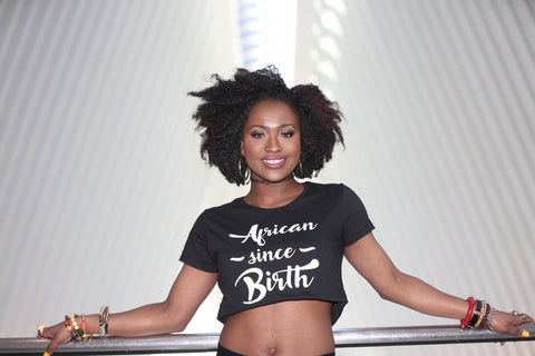 African Since Birth - Black Crop Top