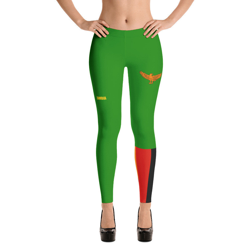 Zambia Flag Print Leggings