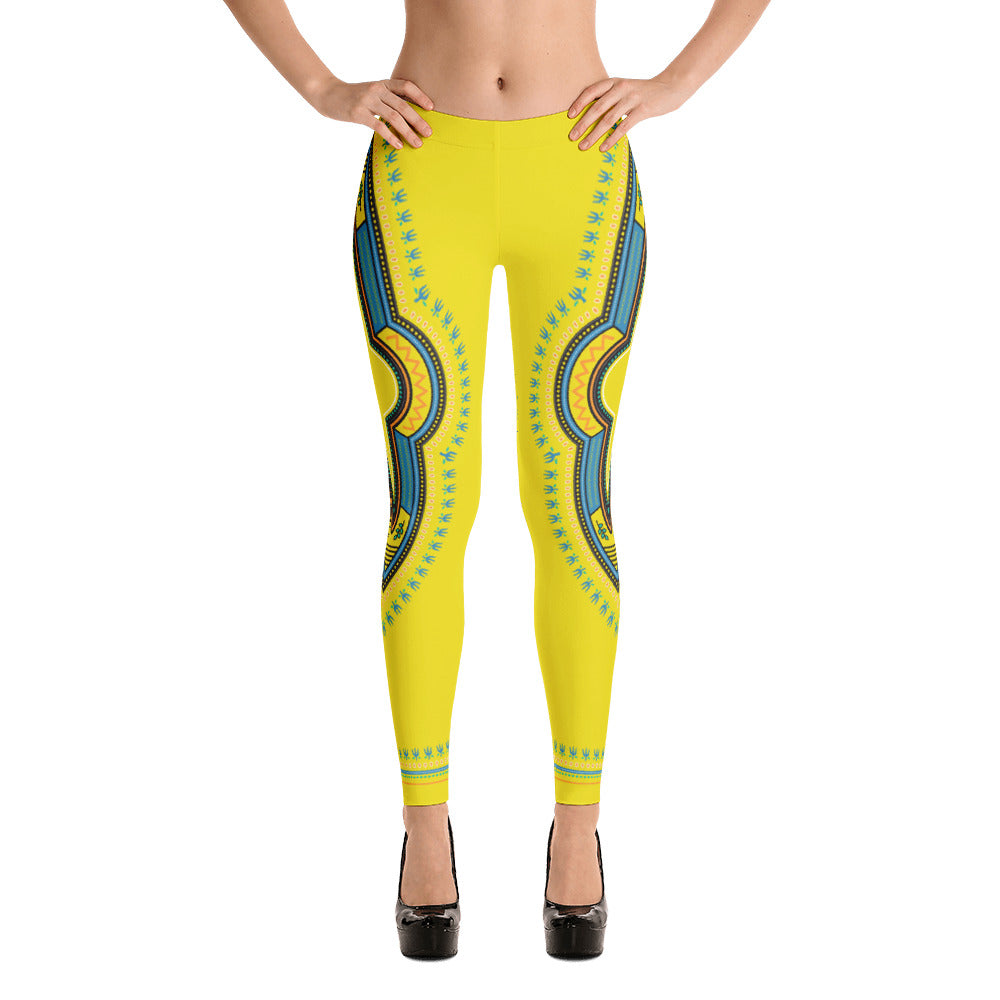 Dashiki Yellow Print Leggings