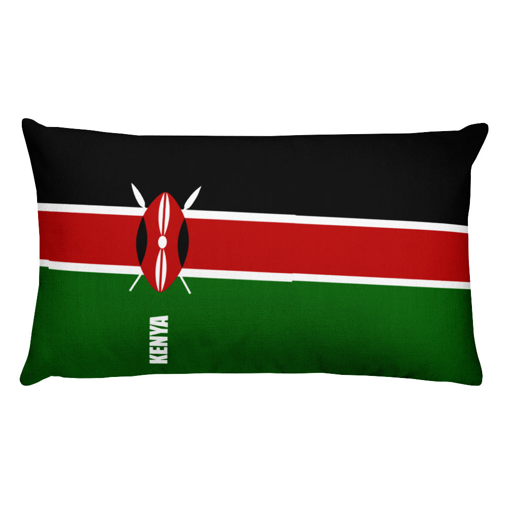 Kenya Flag Print Rectangular Pillow