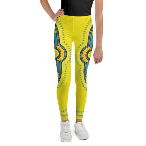 Dashiki Yellow Print Youth Leggings