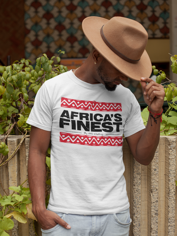 AFRICA'S FINEST - Unisex White Tee Red Bars