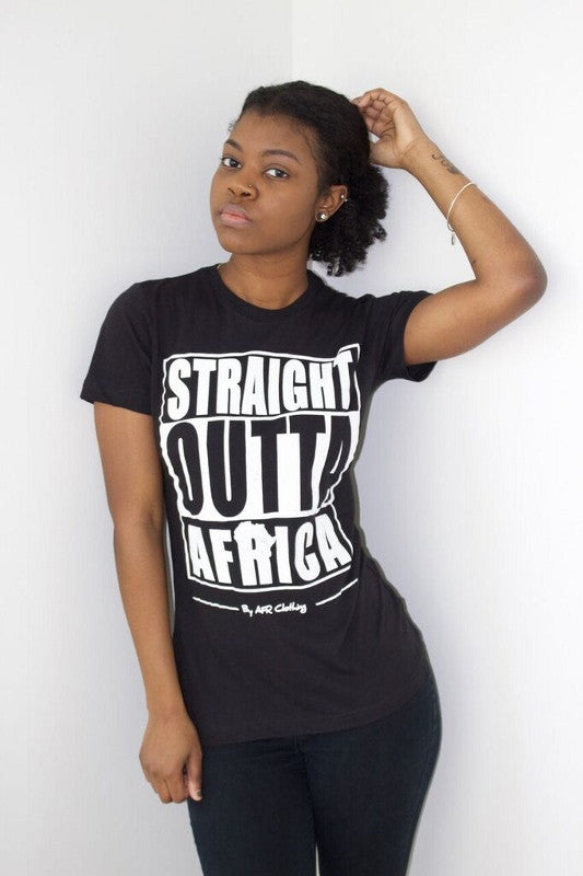 Straight Outta Africa Ladies T-Shirt - Black  Afr Clothing-3855