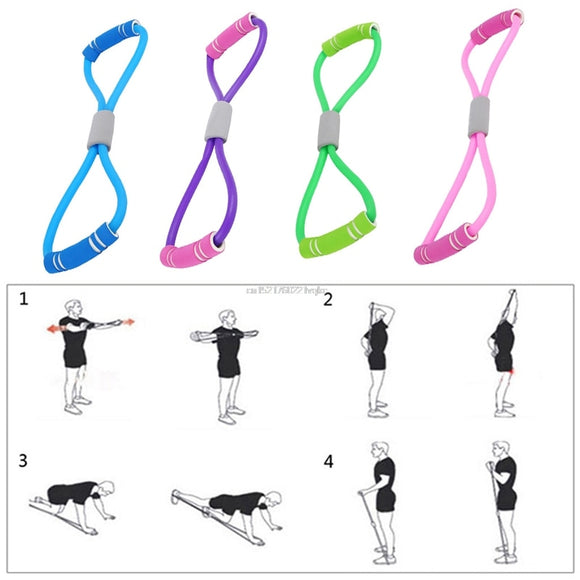 Home Sport Fitness Yoga 8 Shape Pull Rope Tube Equipment Tool Gym Exercise Rally