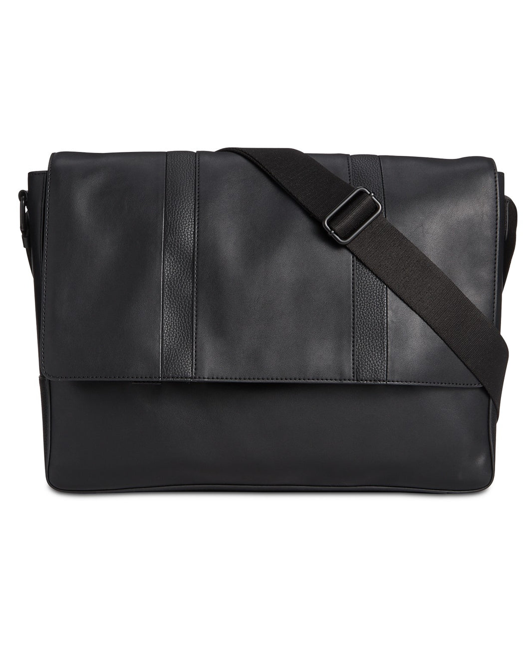 Calvin Klein Men's Faux-Leather Messenger Bag - Black