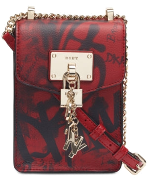 DKNY - Elissa Graffiti Logo North-south Leather Crossbody
