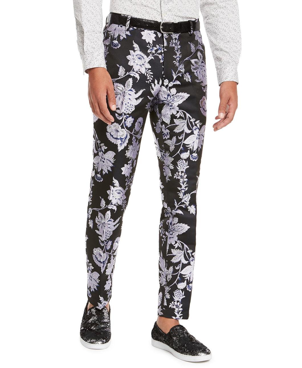 INC INTERNATIONAL CONCEPTS - Men's Slim-Fit Floral Jacquard Pants