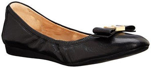 Cole Haan Women's TALI Bow Ballet Flat, Black Leather