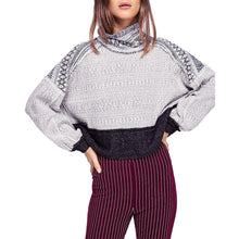 Load image into Gallery viewer, Free People Womens Aztec Print Turtleneck Crop Sweater