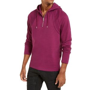 INC - Men's Pieced Quarter-Zip Hoodie