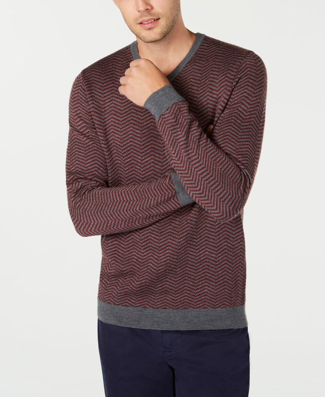 TASSO ELBA - Men's Merino Wool Blend V-Neck Herringbone Sweater