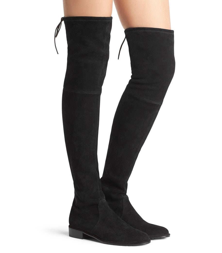 STUART WEITZMAN - Lowland Over The Knee Boot Black Suede Stretch