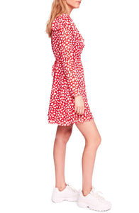 Frenchie Mini Wrap Dress - Regular Color Red