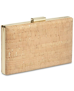 Calvin Klein Cork Small Clutch, Cork; Trim: Leather, Gold Toned Exterior Hardware