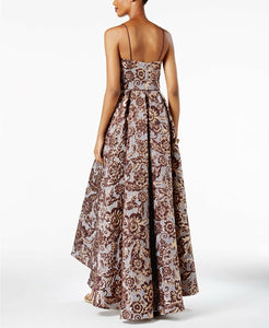Floral Brocade High-Low Gown