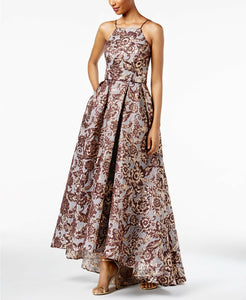 BETSY ADAM - Floral Brocade High-Low Gown