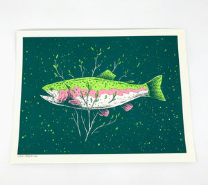 Rainbow Trout Screen Print - 12x9