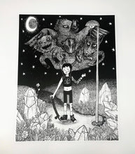 Load image into Gallery viewer, Witchy Skateboarder B&W Print - 11x14
