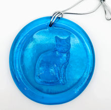 Load image into Gallery viewer, Blenko Cat Suncatcher, Turquoise, 3""