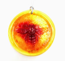 Load image into Gallery viewer, Blenko Bee Suncatcher, Tangerine, 3""