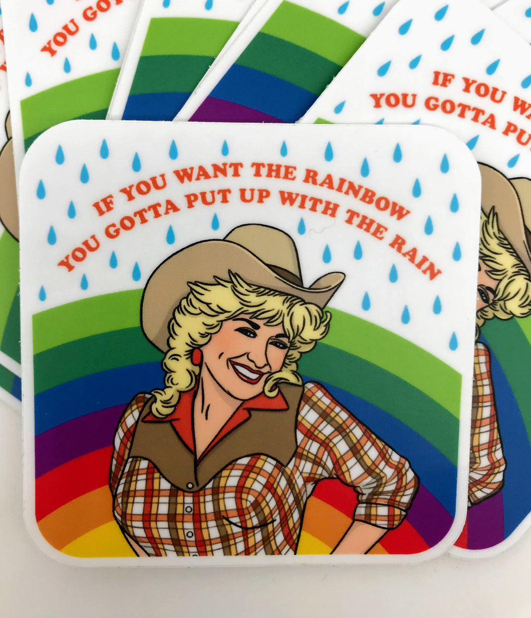 Dolly Parton Rainbow Sticker
