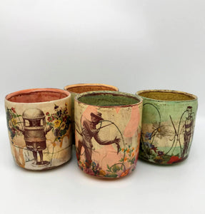 Decoupaged Ceramic Tumbler