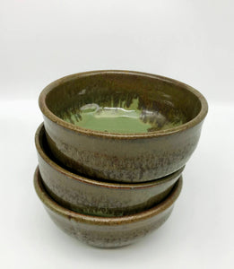 Jade and Red Pottery Bowl