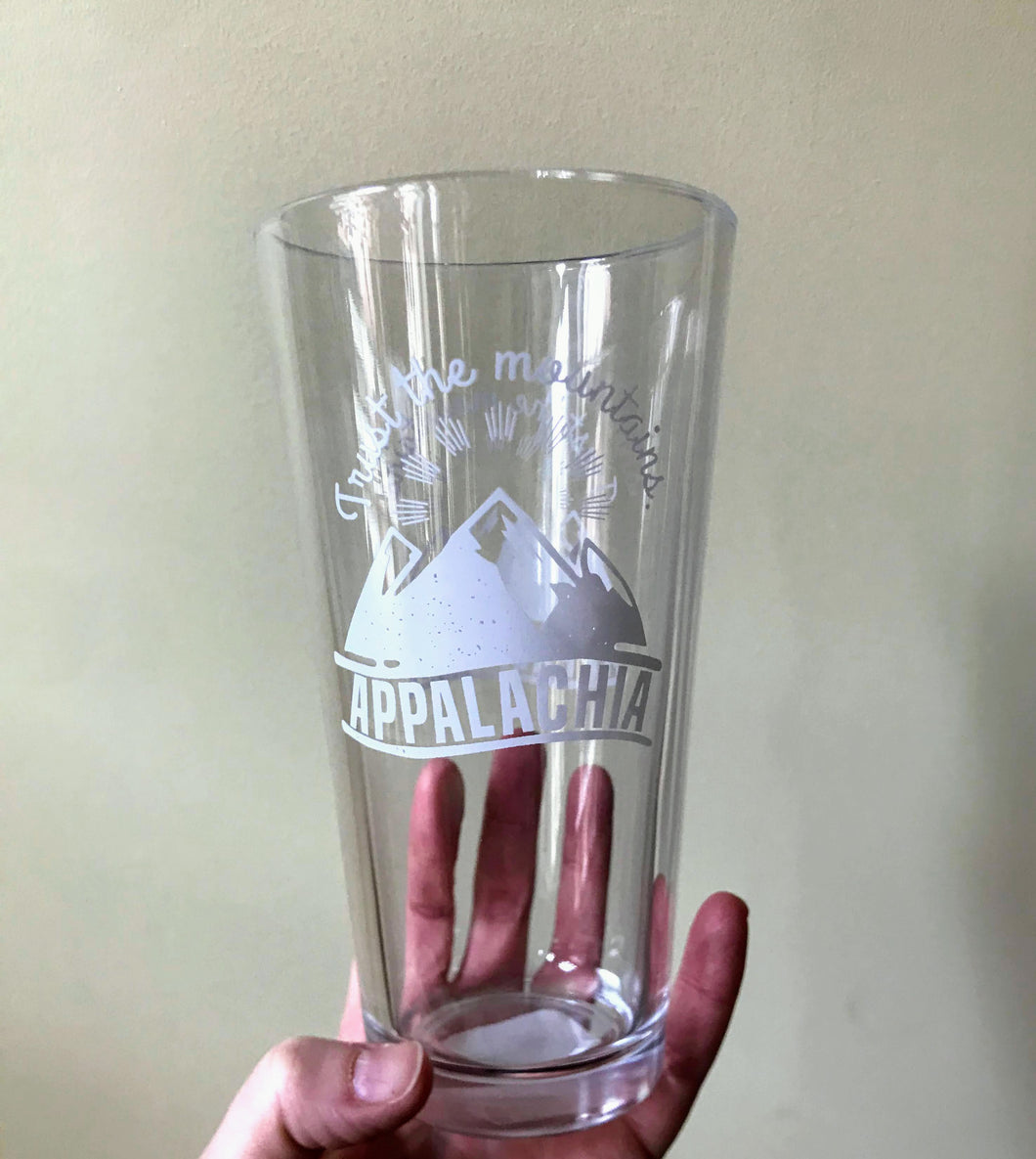 Trust the Mountains Pint Glass