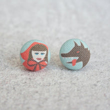 Load image into Gallery viewer, Fabric Button Earrings