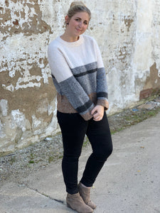 The Tan Color Block Sweater