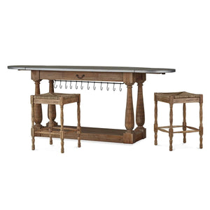 Bramble Co. Bailey Breakfast Island w/ 2 Stools - Accessories Essentials