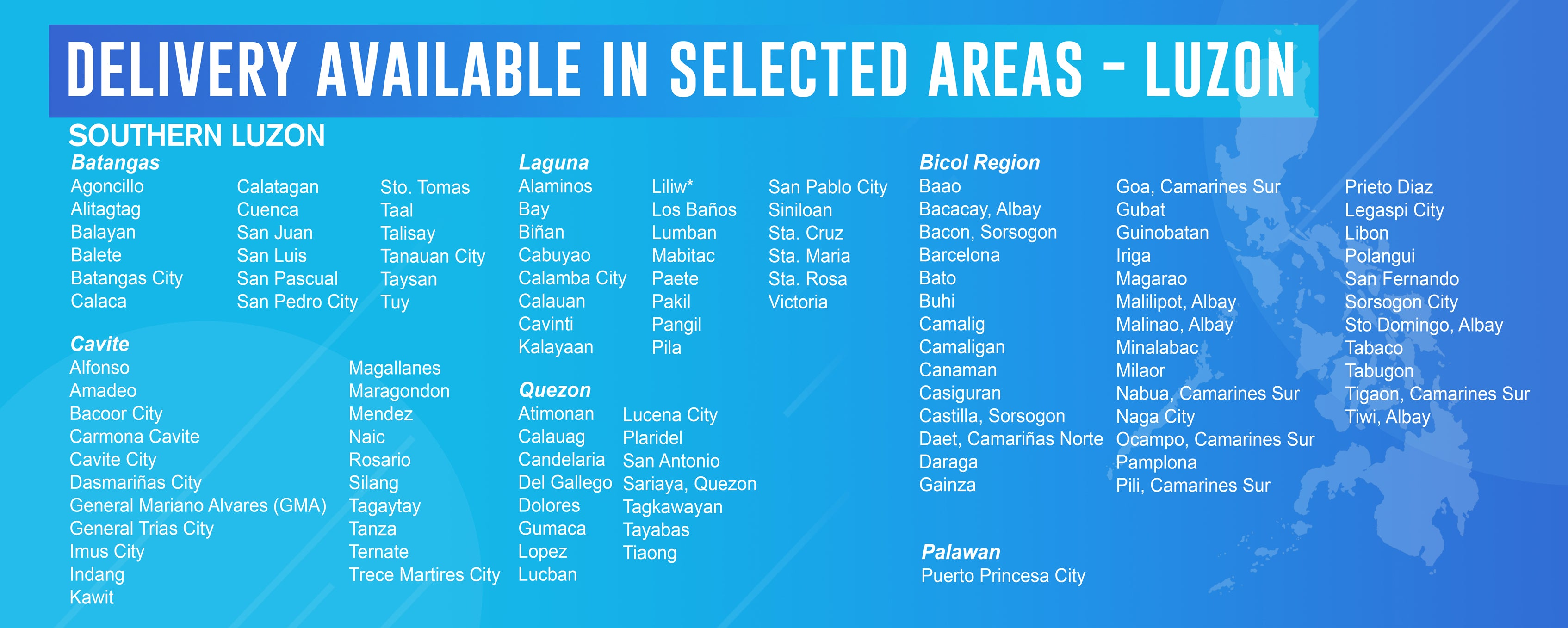 Home Delivery Covered Areas Luzon 2