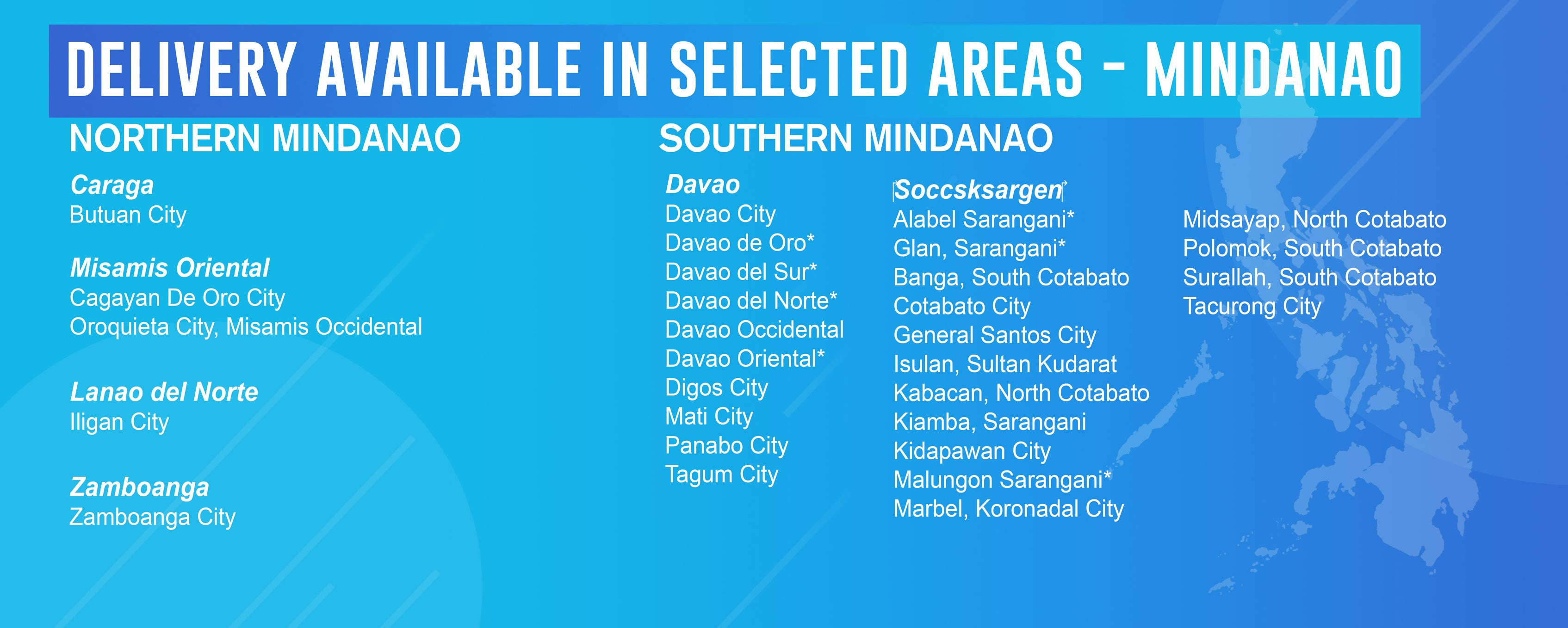 Home Delivery Covered Areas Mindanao