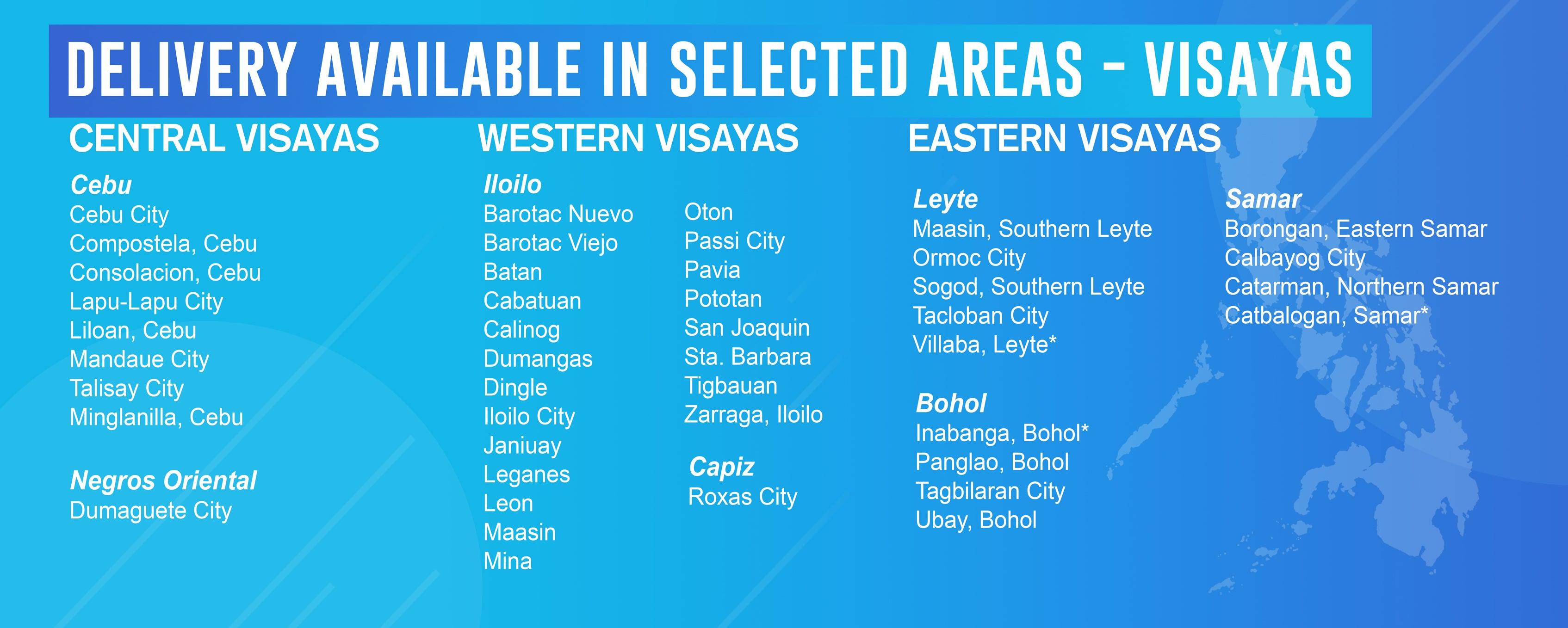 Home Delivery Covered Areas Visayas